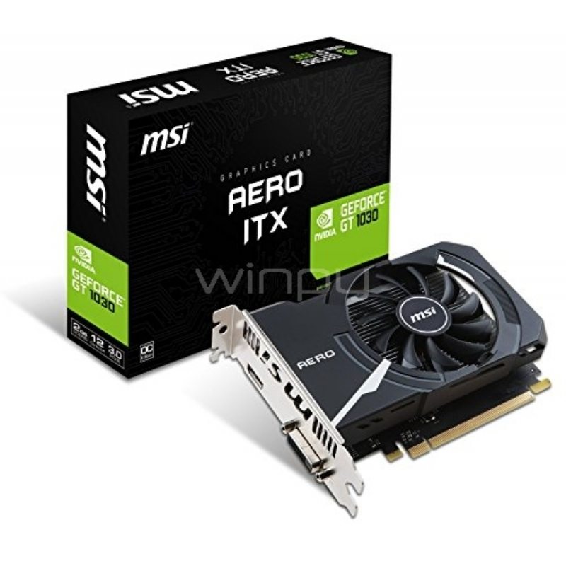 Tarjeta de Video MSI Nvidia Geforce GT 1030 AERO ITX 2G OC