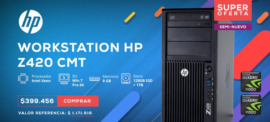 HP Workstation Z420 CMT (Xeon E5-1620, 8GB ECC, 128GB + 1TB, Dos tarjetas Vídeo Quadro k600, Win 7 Pro 64) sin monitor
