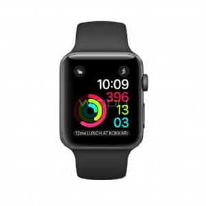 Apple Watch S2, 38mm Space Grey Alum Case with Black Sport Band