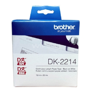 Rollo de etiquetas continuas adhesivas Brother  DK-2214, 12 mm, blanco