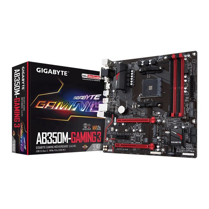 Placa Madre GIGABYTE GA-AB350M-Gaming 3 (AM4, DDR4 2133-3200, M2, mATX)