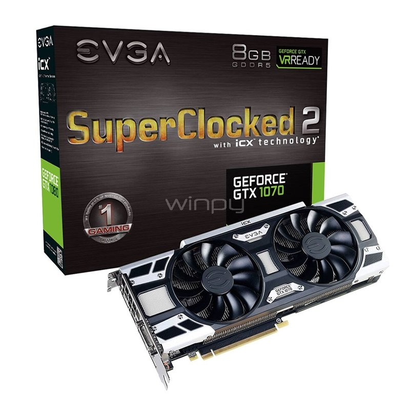Tarjeta de video EVGA GeForce GTX 1070 SC2 - 8GB GDDR5X