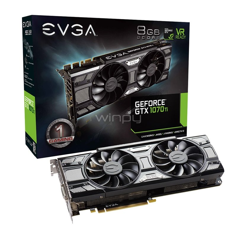 Tarjeta de Video EVGA Nvidia GeForce GTX 1070 Ti SC GAMING - 8GB GDDR5
