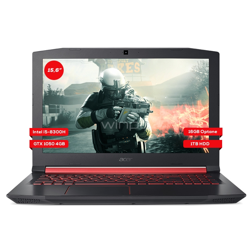 Notebook Gamer Acer Nitro 5 - AN515-52-51RW (i5-8300H, GTX 1050, 4GB DDR4, 16GB OPTANE, 1TB HDD, Pantalla FHD 15.6, Win10)